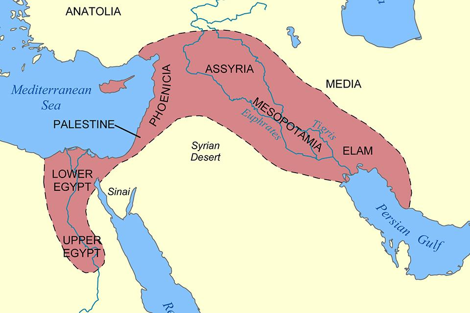 Location of Mesopotamia according to the current world map